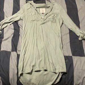 Long sleeve roll up sleeve shirt dress